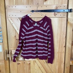 free people | burgundy grey striped sweater